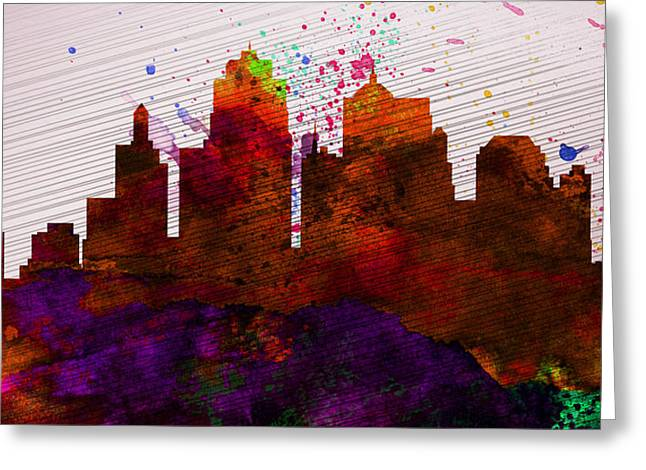 Kansas City Digital Art Greeting Cards -  Kansas City Skyline Greeting Card by Naxart Studio