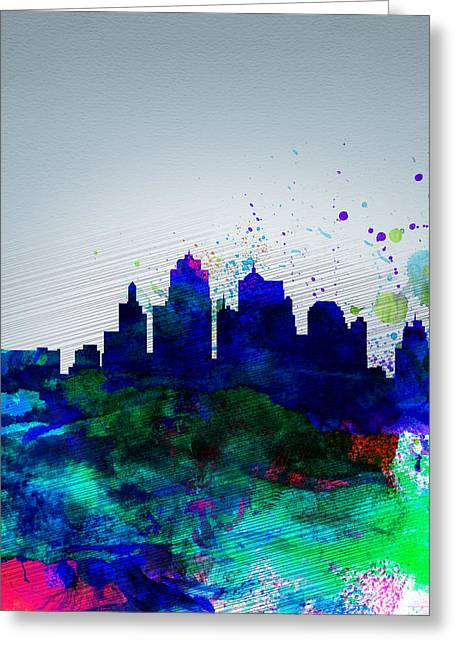 Landscape. Scenic Digital Art Greeting Cards -  Kansas City Watercolor Skyline Greeting Card by Naxart Studio