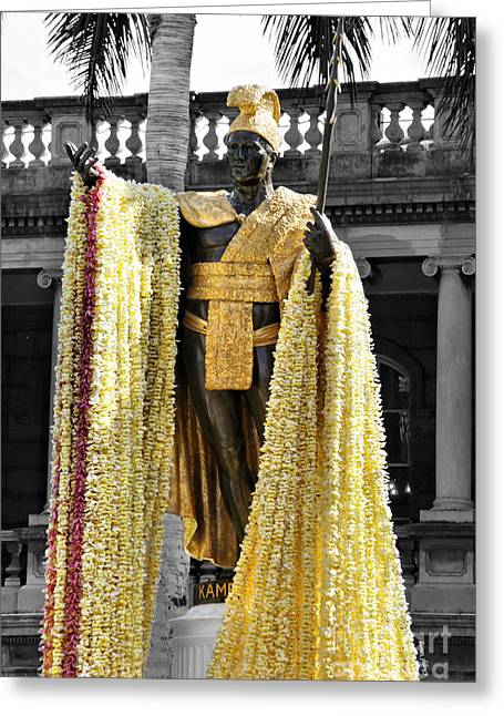 Kamehameha Greeting Cards -  King Kamehameha Day Greeting Card by Cheryl Young