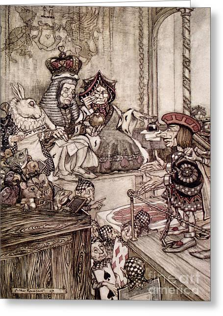 Hare Greeting Cards -  Knave before the King and Queen of Hearts illustration to Alice s Adventures in Wonderland Greeting Card by Arthur Rackham