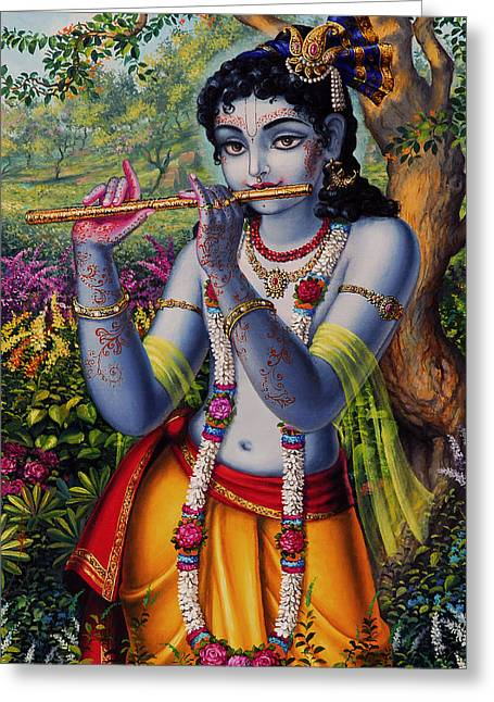 Spiritual Paintings Greeting Cards -  Krishna with flute  Greeting Card by Vrindavan Das