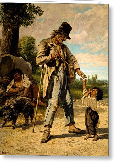 Charity Paintings Greeting Cards -  L Aumone d un Mendiant Greeting Card by Gustave Courbet
