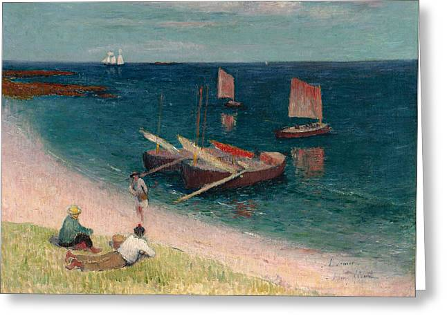 Moret Greeting Cards -  La Cote d Armor. Plage Greeting Card by Henry Moret