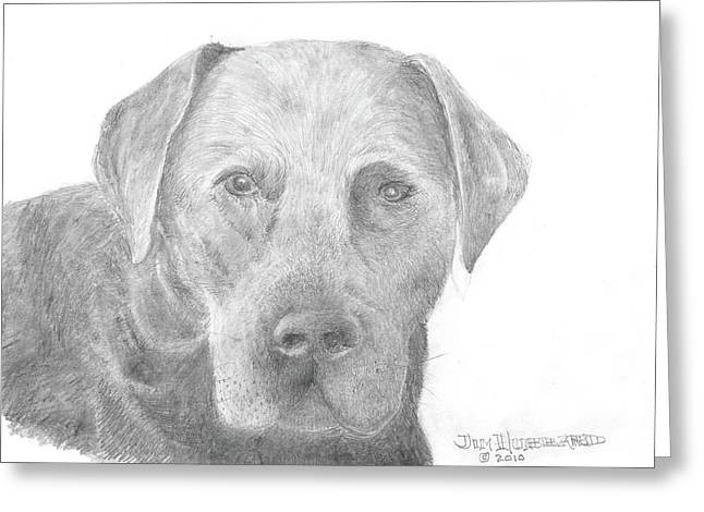 Pencil Drawings Of Pets Greeting Cards -  Labrador Retriever Black Greeting Card by Jim Hubbard