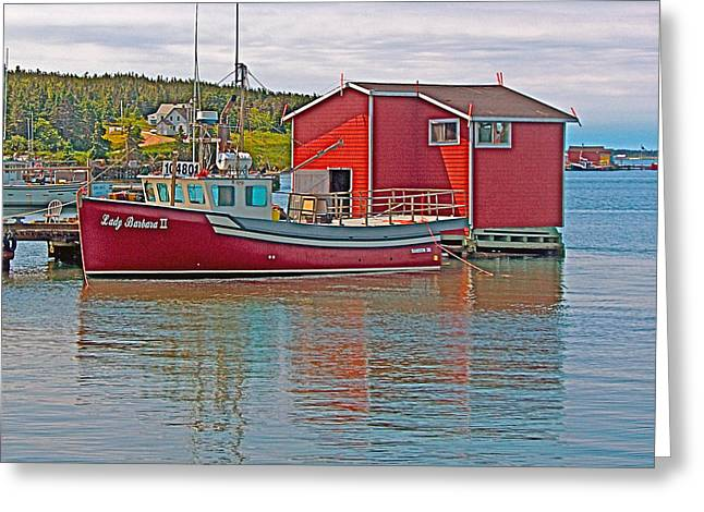 Boats In Harbor Digital Art Greeting Cards -  Lady Barbara II in the Cape in Cape Breton-NS Greeting Card by Ruth Hager