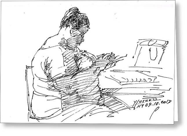 Sketches Drawings Greeting Cards -  Lady On Smartphone  Greeting Card by Ylli Haruni
