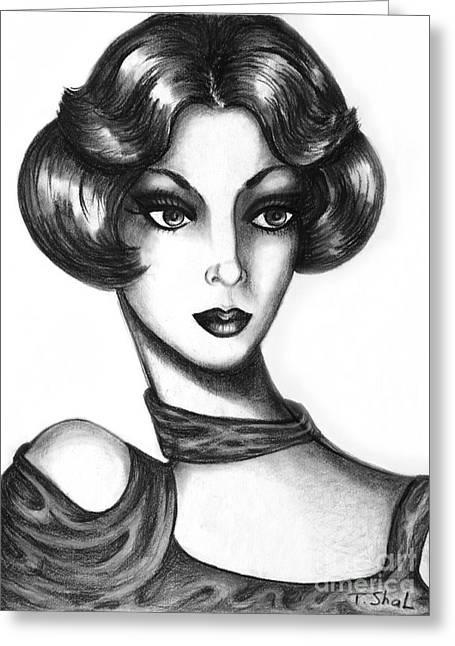 Layers Drawings Greeting Cards -  Lady Greeting Card by Tara  Shalton
