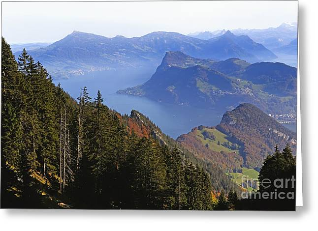 Luzern Greeting Cards -  Lake Luzern from Above Greeting Card by George Oze