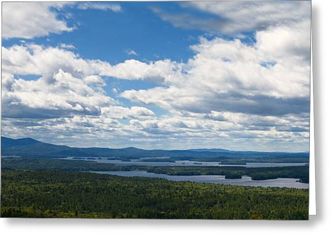 Wilderness Photos Greeting Cards -  Lake Winnipesaukee Panorama Greeting Card by Stephanie McDowell