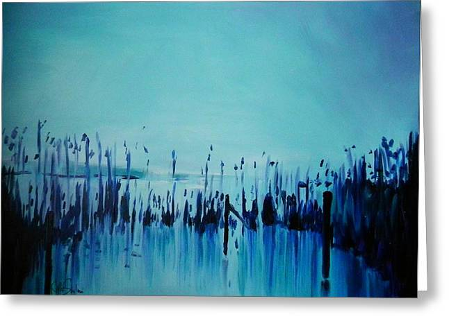 Lake With Reeds In Blue Greeting Card by Jolanta Shiloni