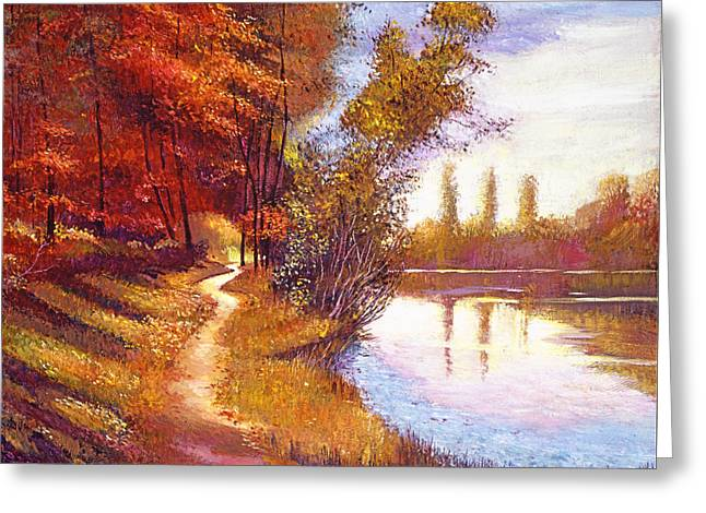 Evening Lights Paintings Greeting Cards -  Lakeside Colors Greeting Card by David Lloyd Glover