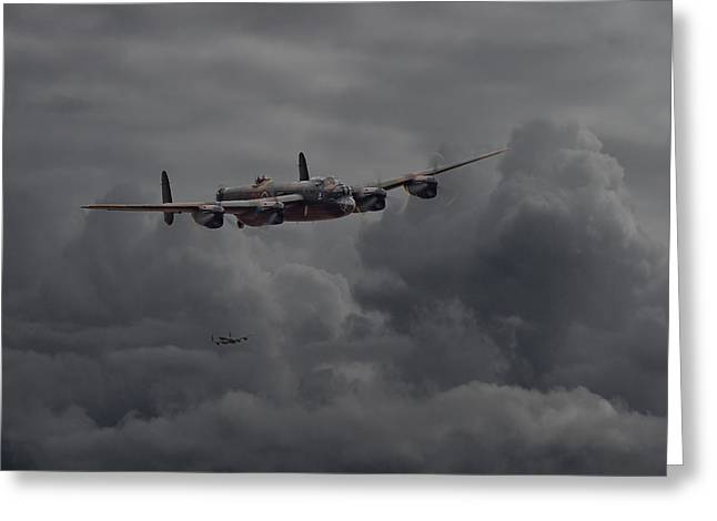 Lancasters Greeting Cards -  Lancaster - Heavy Weather Greeting Card by Pat Speirs