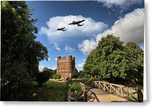 Lancasters Greeting Cards -  Lancaster over Tattershall Greeting Card by J Biggadike