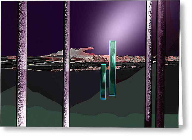 Monolith Greeting Cards - 076 - Landscape with columns and two monoliths  Greeting Card by Irmgard Schoendorf Welch