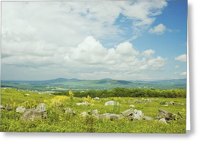 Maine Landscape Greeting Cards -  Large Blueberry Field With Mountains And Blue Sky In Maine Greeting Card by Keith Webber Jr