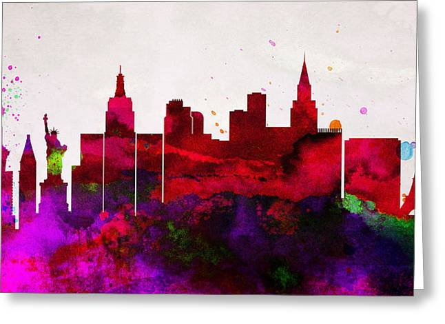 Las Vegas Greeting Cards -  Las Vegas City Skyline Greeting Card by Naxart Studio