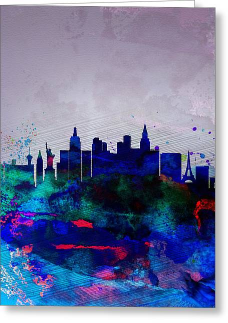 Las Vegas Greeting Cards -  Las Vegas Watercolor Skyline Greeting Card by Naxart Studio
