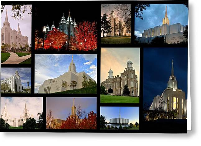 Jordan River Temple Greeting Cards -  LDS Temples Collage Greeting Card by Nathan Abbott