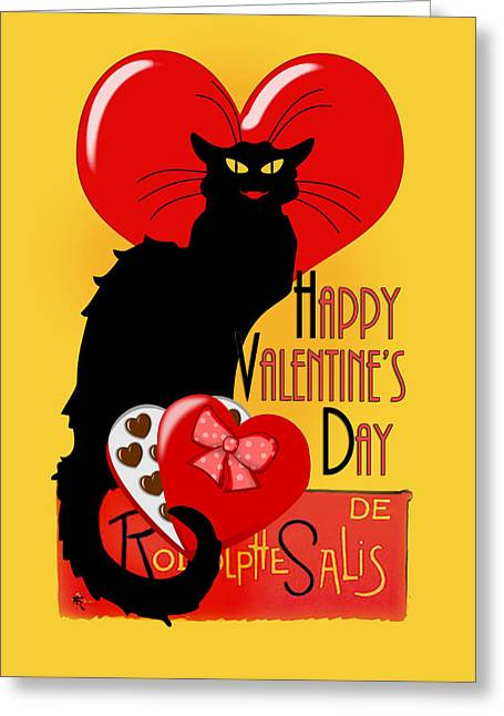 Le Cat Greeting Cards -  Le Chat Noir Valentine  Greeting Card by Gravityx9  Designs