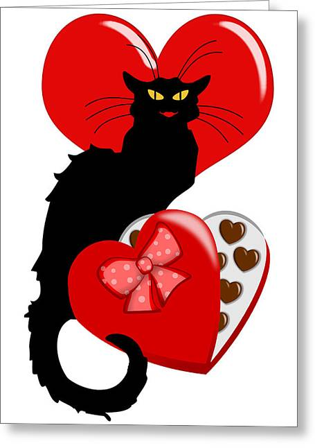Le Cat Greeting Cards -  Le Chat Noir with Chocolate Candy Gift  Greeting Card by Gravityx9   Designs