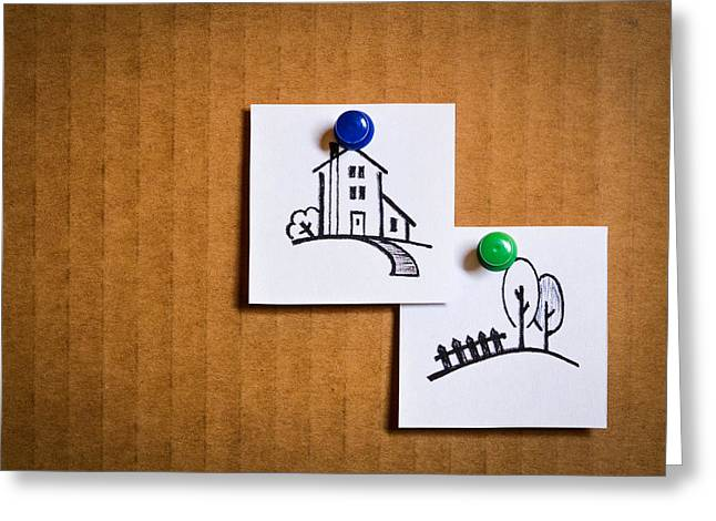 Old Fence Posts Drawings Greeting Cards -  Leaflets With Cartoon Icons Greeting Card by Jozef Jankola