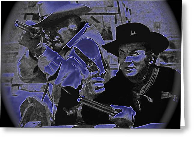Leif Erickson And Cameron Mitchell  The High Chaparral Old Tucson Arizona 1969 Greeting Card by David Lee Guss