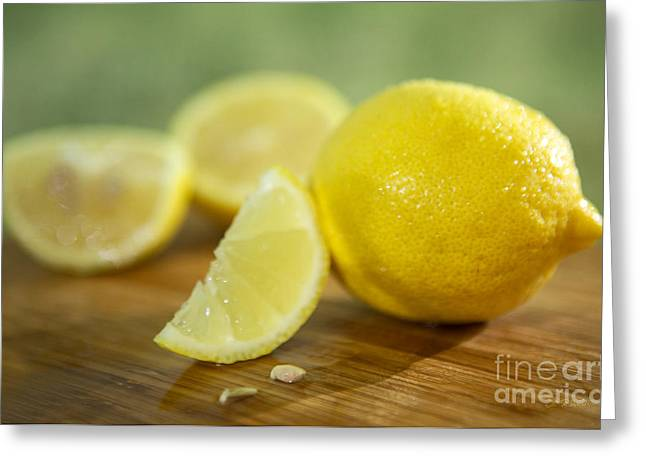 Lemon Art Greeting Cards -  lemon Citrus limon Zitronen Greeting Card by Iris Richardson
