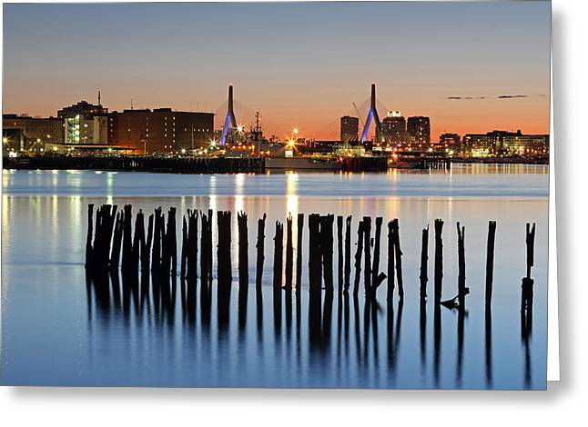 Leonard P. Zakim Bunker Hill Memorial Bridge And Boston Harbor Greeting Card by Juergen Roth