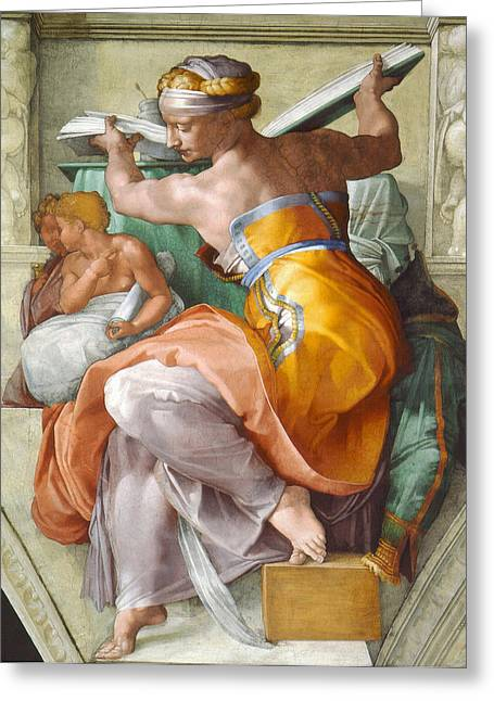 Michelangelo Greeting Cards -  Libyan Sibyl Greeting Card by Michelangelo di Lodovico Buonarroti Simoni