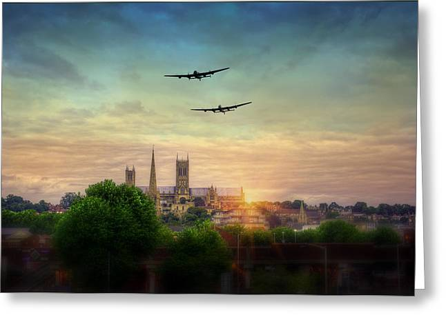 Candian Greeting Cards -  Lincoln Lancaster Flyby Greeting Card by Jason Green