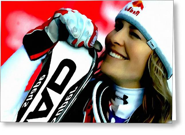 Skiing Action Paintings Greeting Cards -  Lindsey Vonn skiing Greeting Card by Lanjee Chee