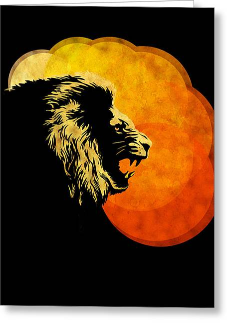 Roar Greeting Cards -  lion illustration print silhouette print NIGHT PREDATOR Greeting Card by Sassan Filsoof