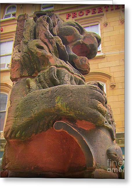 Halifax Photographs Greeting Cards -  Lion Statue in the Halifax Historic Property Area Greeting Card by John Malone