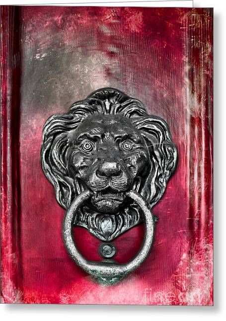 Frontdoor Greeting Cards -  Lions Head Door knocker Greeting Card by Colleen Kammerer