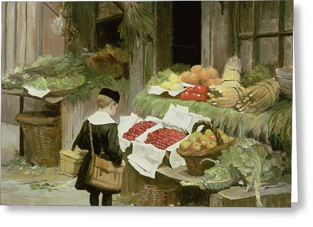 Little Boy at the Market Greeting Card by Victor Gabriel Gilbert