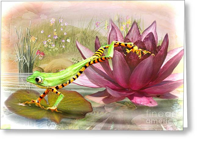 Tree Frog Greeting Cards -  Little Leap Frog Greeting Card by Trudi Simmonds