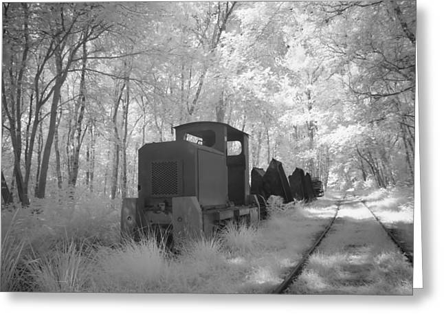 Alienating Greeting Cards -  locomotive with wagons in infrared light in the forest in Netherlands Greeting Card by Ronald Jansen