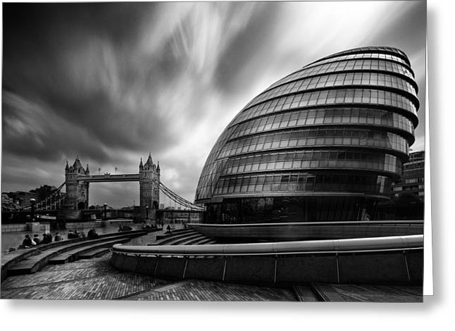 South Bank Greeting Cards -  London City Hall and Tower bridge.  Greeting Card by Ian Hufton