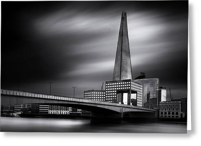 Shard Greeting Cards -  London skyline in Monochrome Greeting Card by Ian Hufton