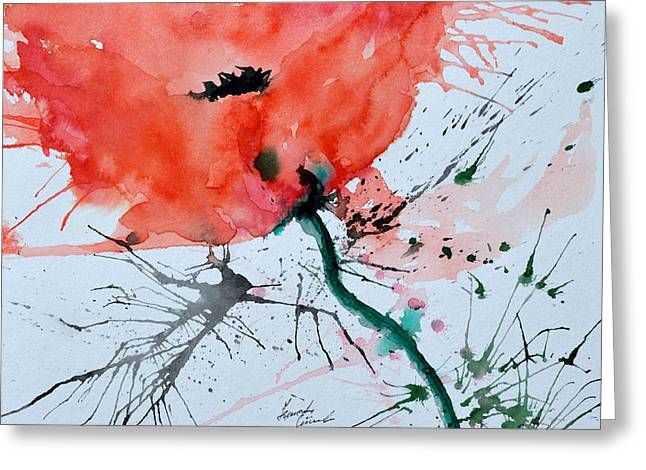 Ismeta Paintings Greeting Cards -  Lonely Poppy Greeting Card by Ismeta Gruenwald