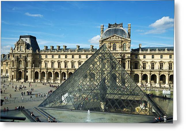 Pyramids Art Greeting Cards -  Louvre Museum Greeting Card by Chevy Fleet