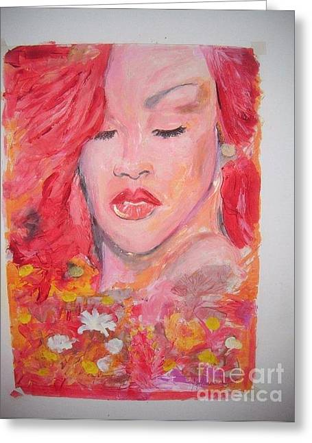 Rihanna Paintings Greeting Cards -  love Rihanna Greeting Card by John Fitzsimon