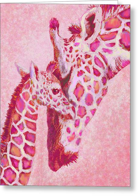 Animals Love Greeting Cards -  Loving Pink Giraffes Greeting Card by Jane Schnetlage