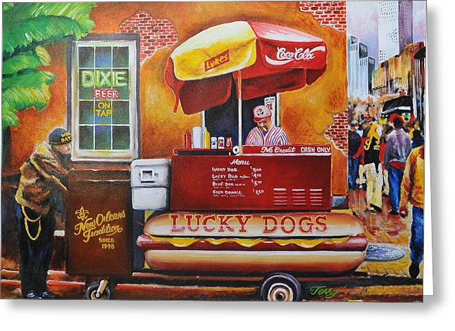 Lucky Dogs Greeting Cards -  Lucky Dog Man in the Quarter Greeting Card by Terry J Marks Sr