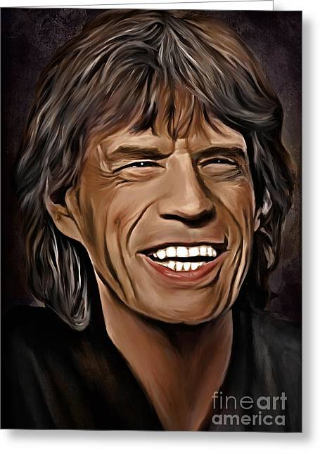 Mick Jagger Portrait Greeting Cards -  Lucky In Love Greeting Card by Andrzej Szczerski
