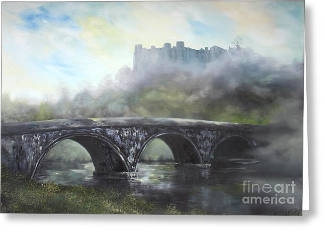 Princes Greeting Cards -  Ludlow Castle in a Mist Greeting Card by Jean Walker
