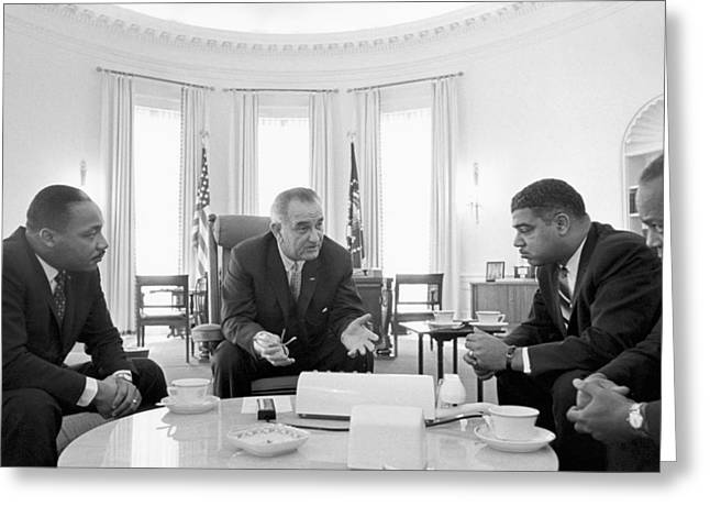 Martin Luther King Jr. Greeting Cards -  Lyndon Baines Johnson 1908-1973 36th President of the United States in talks with Civil Rights  Greeting Card by Anonymous