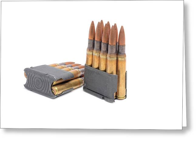 Reloading Greeting Cards -  M1 Garand clips and ammunition on white background.  Greeting Card by John Bell