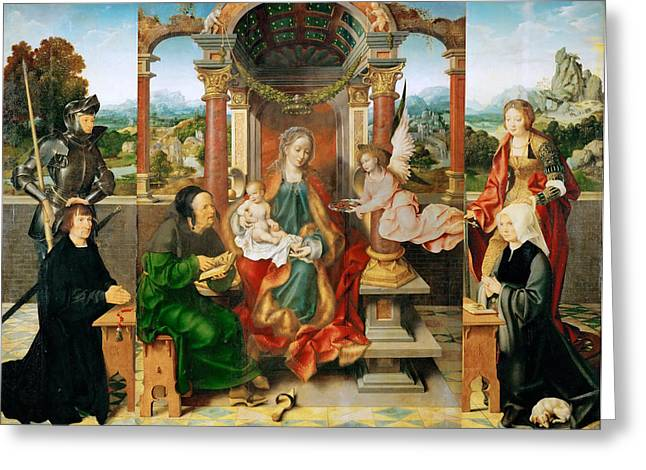 Cleves Greeting Cards -  Madonna and Child enthroned and Saint Joseph. Saint George and Saint Catherine with the donors Greeting Card by Joos van Cleve