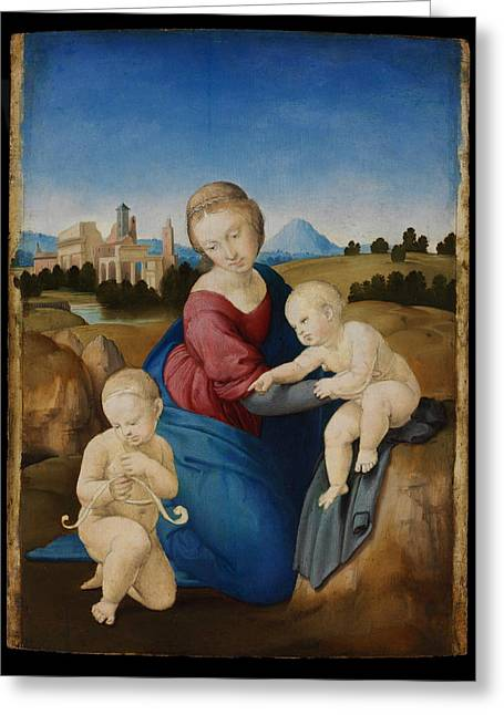 With Love Greeting Cards -  Madonna and Child with the Infant Saint John Greeting Card by Raphael